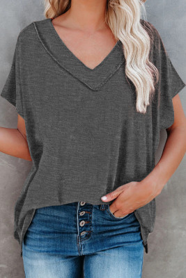 Gray Oversized Mineral Wash Cotton Blend V Neck Short Sleeves Top