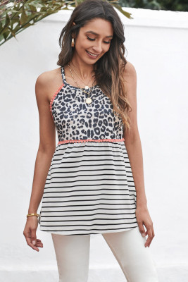 Camiseta sin mangas con estampado de leopardo y rayas Halter Coral Trim