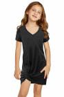 فستان أسود قصير للفتيات الصغيرات برقبة على شكل V مع حاشية ملتوية