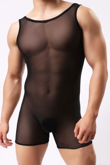 رومبير شفاف بدون أكمام للرجال المثليين باللون الأسود