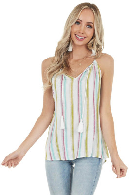Striped Tank Top with Keyhole Detail
