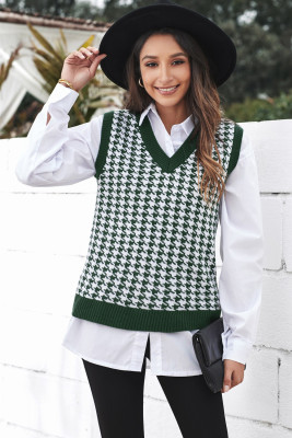 Green V Neck Argyle Plaid Knitted Sweater Vest