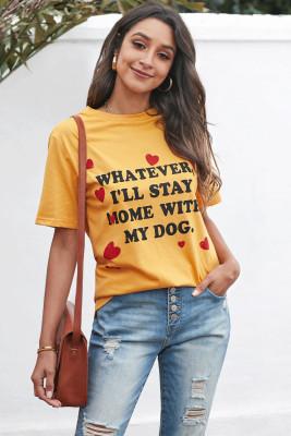 Желтая повседневная футболка с круглым вырезом и короткими рукавами с буквенным принтом