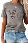 BE Kind camiseta gris con estampado de corazón de leopardo