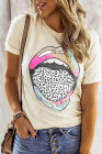 Camiseta con labios de leopardo tie-dye
