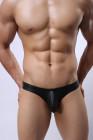ملابس داخلية سوداء مثيرة للمثليين من الجلد الصناعي