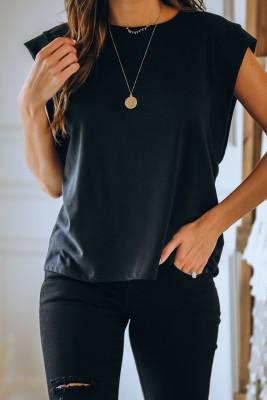 Черная футболка с круглым вырезом из смесового хлопка