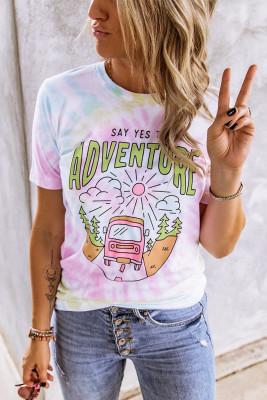 Camiseta con estampado SAY YES TO ADVENTURE Tie-Dye