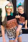 تي شيرت بناتي بنقشة جلد الفهد كولوربلوك