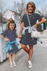 فستان ميني تي شيرت مخطط للفتيات المطابق للعائلة بأكمام مكشكشة