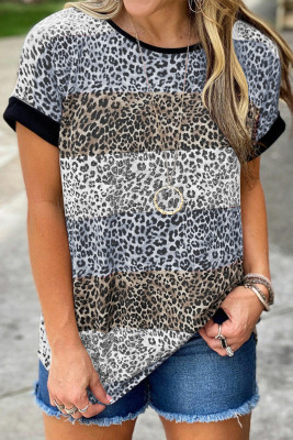 Brown Leopard Striped Colorblock T-shirt