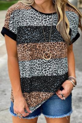 ブラックレオパードストライプカラーブロックTシャツ