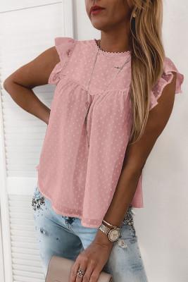 Camiseta sin mangas con volantes de encaje a lunares rosada