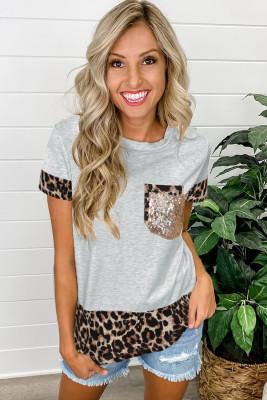 Camiseta de empalme de leopardo con detalle de lentejuelas grises