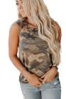 Camiseta sin mangas con hombros descubiertos y camuflaje