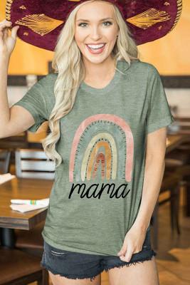 Camiseta con estampado gráfico de letras de mama verde