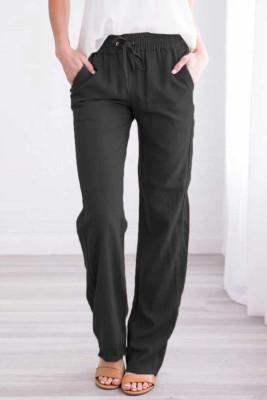 Pantalones con cordón elástico bolsillos en la cintura piernas largas y rectas negro