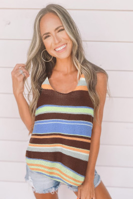 Brown Multicolor Striped Knit Tank Top