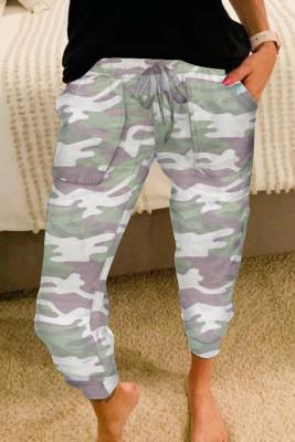 Pantalones deportivos casuales de camuflaje gris
