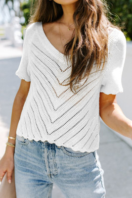 White V Neck Eyelet Knitted Top with Scalloped Trims