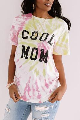 Camiseta con efecto tie dye COOL MOM rosa