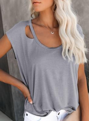 Camiseta recortada gris