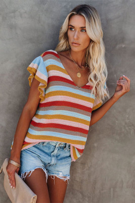 Multi-color Striped Ruffle Short Sleeve Knit Top