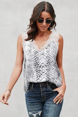 Camiseta sin mangas de encaje en contraste con estampado de serpiente blanca