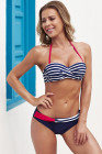 Blue Halter Bandeau Striped Bikini