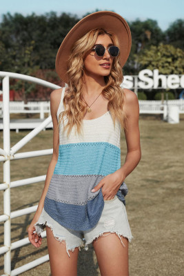 Sky Blue Adjustable Spaghetti Straps Colorblock Knit Tank Top