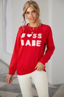 Sweat-shirt rouge à col rond et lettre à imprimé Valentine