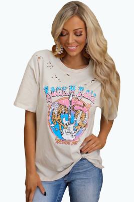 Рваная футболка с рисунком Rock N Roll Never Die с рисунком