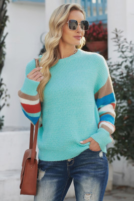 Crew Neck Lantern Sleeve Striped Color Block Sweater