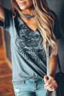 Camiseta estampada con cuello en V y manga corta estampada gris divertida de la motocicleta