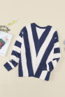 Suéter de punto con cuello en V a rayas azules