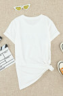 White Letter Print Short Sleeve Tee
