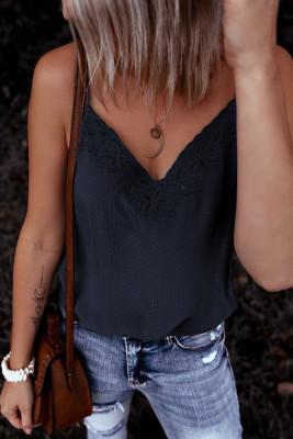 Camiseta sin mangas con escote en V de crochet azul marino