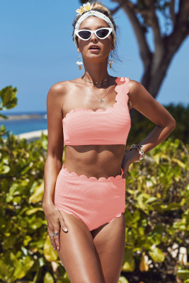 Pink High Waist Scalloped Trim One Shoulder Bikini
