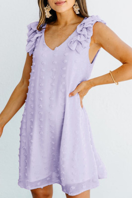 Purple Swiss Dot V Neck Ruffled Sleeveless Mini Dress