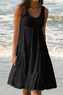 Vestido de tirantes sin mangas con cuello redondo negro sin mangas