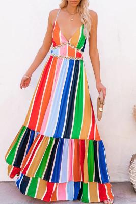 كروشيه - فستان ماكسي مخطط متعدد الألوان