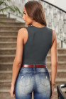 Gray Brief Studded Detail Multi-Strap Casual Tank Top