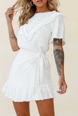 White Tassel Bust Wrap Bottom Dress