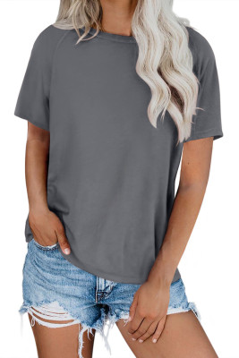 Gray Round Neck Raglan Sleeve T-shirt