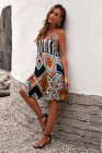 فستان بوهو قصير بأشرطة السباغيتي متعدد الألوان