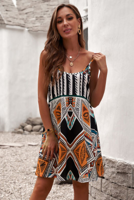 Multicolor Spaghetti Straps Boho Mini Dress