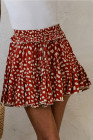 تنورة قصيرة حمراء مطرزة بحافة مكشكشة