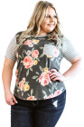 Gray Stripes Floral Plus Size Tee