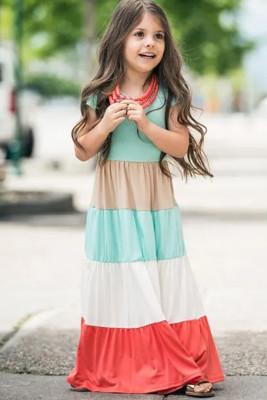 Vestido largo para niños de manga corta con bloques de color a juego con la familia