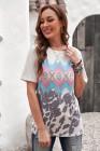 Camiseta multicolor con estampado geométrico azteca